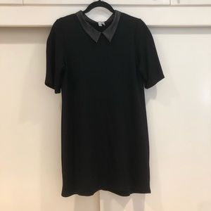 ASOS T-Shirt Mini Dress With Faux Leather Collar